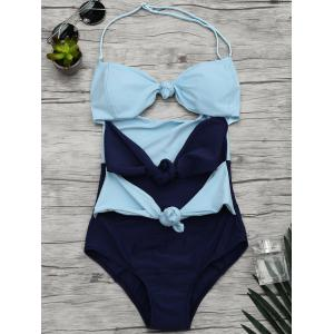 Halter Two Tone Bowknot Cut Out Swimsuit