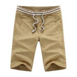 Fish Bone Printed Drawstring Chino Shorts