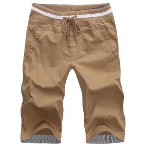 Pockets Drawstring Bermuda Shorts - Khaki - Xl