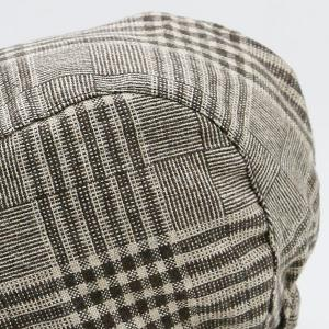 Checked Striped Vintage Newsboy Hat - COFFEE