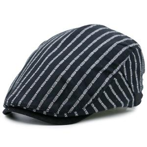 Vintage Striped Embellished Flat Newsboy Hat - Black