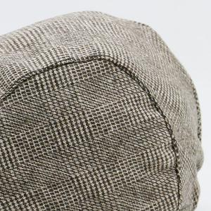 Dense Checked Vintage Flat Hat - COFFEE