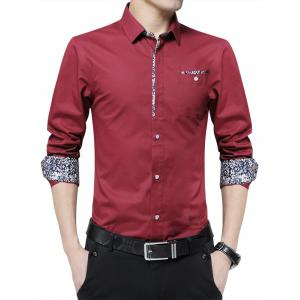Floral Print Casual Pocket Shirt - Wine Red - L