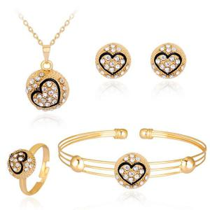 Engraved Heart Necklace Earrings Bracelet and Ring Set