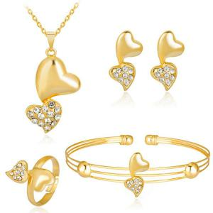 Rhinestoned Double Heart Jewelry Set - Golden - One Size