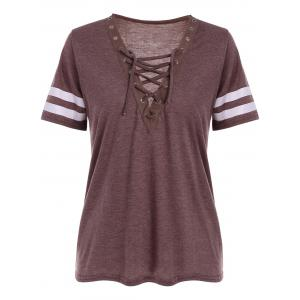 Grommet Lace Up Striped T Shirt - Brick-red - S