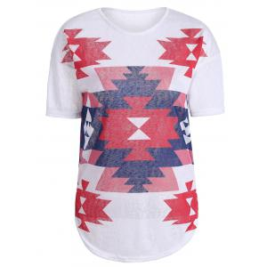 Casual Geometric Print Knit T Shirt - White - Xl