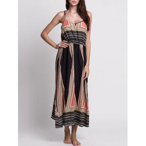 Casual Bohemian Print Slip Long Summer Dress - Colormix - S