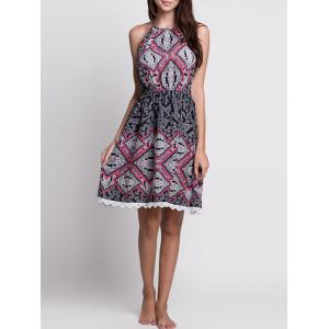 Lace Trim Paisley Halter Neck Summer Dress - Colormix - Xl