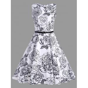 Vintage Belted Floral Print Dress