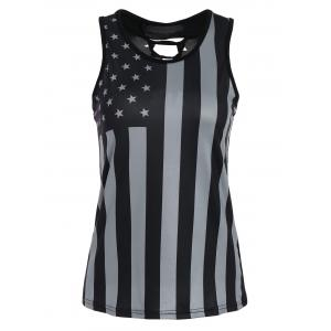 Lace-up Patriotic American Flag Print Tank Top - Black - 2xl