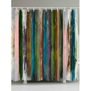 Vintage Colorful Woodgrain Fabric Shower Curtain