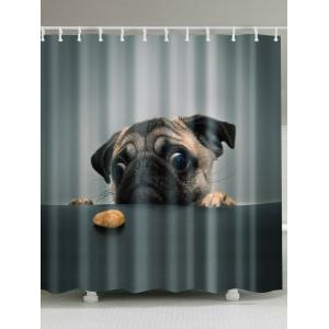 Puppy Pet Waterproof Shower Curtain with Hooks - Deep Gray - W71 Inch * L79 Inch