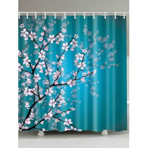 Plum Blossom Mouldproof Shower Curtain For Bathroom - Lake Blue - W71 Inch * L79 Inch