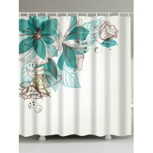 Concise Floral Extra Long Fabric Shower Curtain - White - W71 Inch * L79 Inch