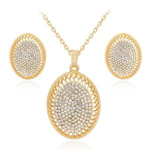 Rhinestone Oval Pendant Necklace and Earrings Set