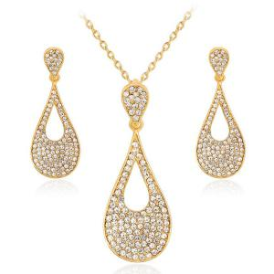 Rhinestone Teardrop Necklace with Earrings Set