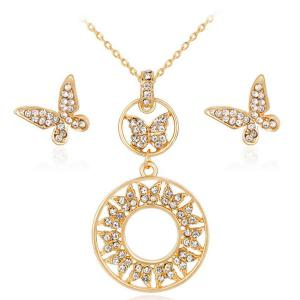 Rhinestoned Butterfly Necklace and Earrings Set