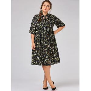 Plus Size  Tiny Floral Flare Sleeve Country Dress -
