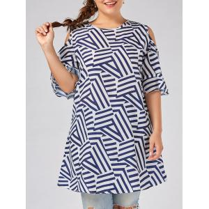 Plus Size Stripe Flare Sleeve Cold Shoulder Dress