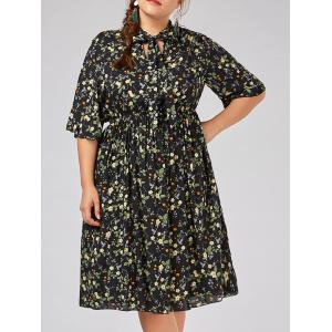 Plus Size  Tiny Floral Flare Sleeve Country Dress - Black - 2xl