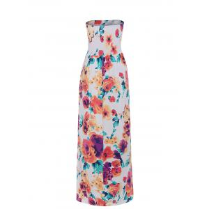 Plus Size Strapless Floral Maxi Formal Dress - MULTI 3XL