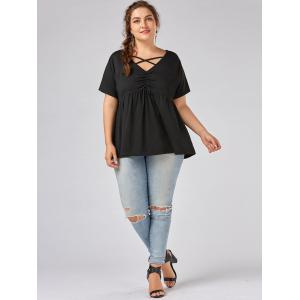 Plus Size Cutout V Neck Smock Top -