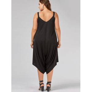 V Neck Plus Size Capri Baggy Jumpsuit -