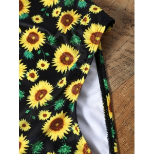Sunflower Print Plunging Neckline Backless Swimsuit - COLORMIX S