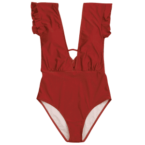 Frilled One Piece Plunge Swimsuit - RED L