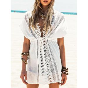 Lace Insert Plunging Neckline Cover Up Dress