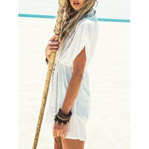 Lace Insert Plunging Neckline Cover Up Dress - WHITE ONE SIZE