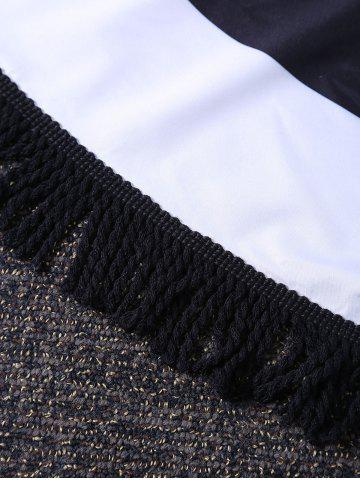 Best Sunbath Round Color Block Fringe Beach Throw - ONE SIZE WHITE AND BLACK Mobile