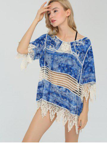 Crochet Lace Insert Paisley Beach Cover Up - Blue - One Size