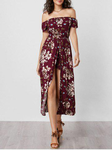 Unique Off The Shoulder Overlay Floral Print Romper WINE RED S