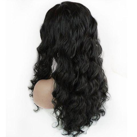 Online Free Part Long Shaggy Body Wave Lace Front Synthetic Wig - BLACK  Mobile
