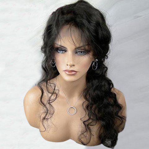 Sale Free Part Long Shaggy Body Wave Lace Front Synthetic Wig - BLACK  Mobile