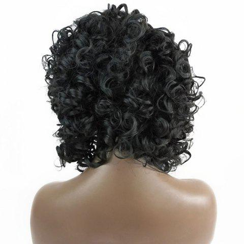 Discount Free Part Short Shaggy Curly Lace Front Synthetic Wig - BLACK  Mobile