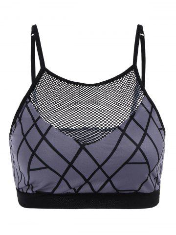 Affordable Fishnet Insert Sport Cropped Tank Top GRAY S