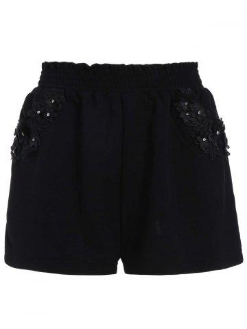 Fancy Stereo Floral Elastic Waist Mini Plus Size Shorts