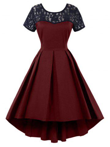 Buy High Low Lace Insert Vintage Dress WINE RED 2XL