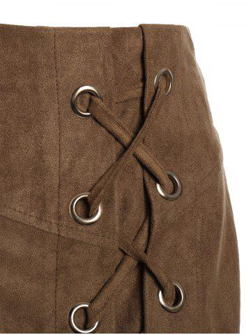Affordable Lace Up Min iHigh Waist Skirt - S KHAKI Mobile