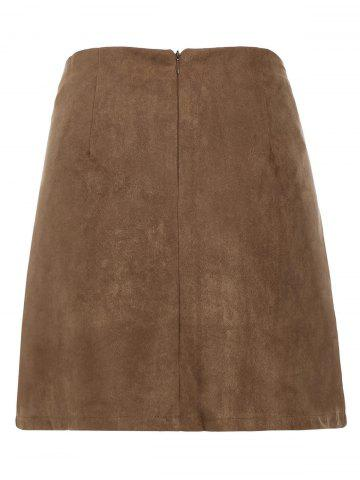 Affordable Lace Up Min iHigh Waist Skirt - M KHAKI Mobile