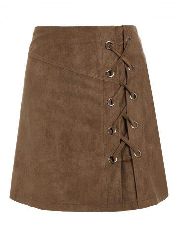 Discount Lace Up Min iHigh Waist Skirt - M KHAKI Mobile