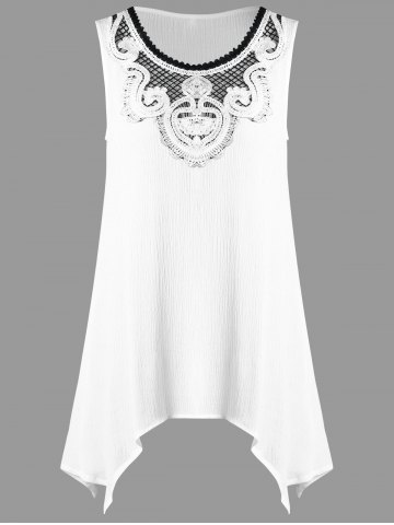 New Crochet Appliqued Crinkle Tunic Top WHITE XL