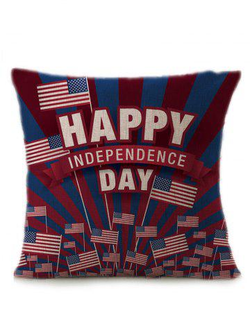 Patriotic American Flag Independence Day Linen Pillow Case - Multicolor - 45*45cm