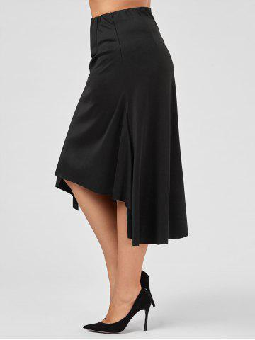 Chic Plus Size Midi Flowy Asymmetric Skirt - 2XL BLACK Mobile