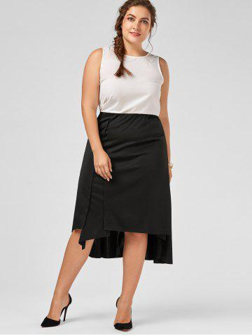 Affordable Plus Size Midi Flowy Asymmetric Skirt - 2XL BLACK Mobile
