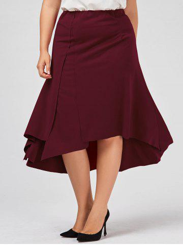 Chic Plus Size Midi Flowy Asymmetric Skirt - 3XL DEEP RED Mobile