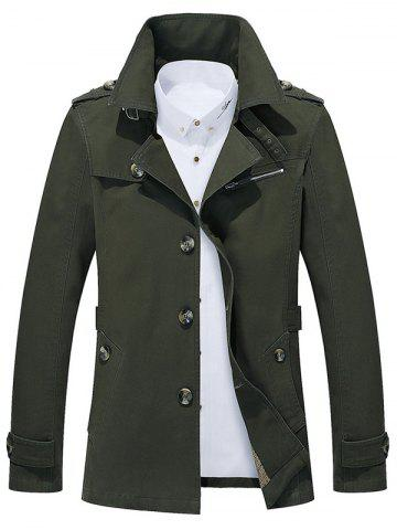 Best Button Up Notch Collar Slim Fit Jacket ARMY GREEN 5XL